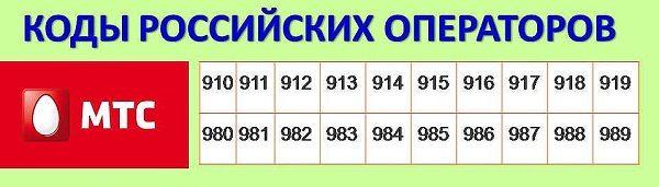 номера мобильных телефонов мтс россия